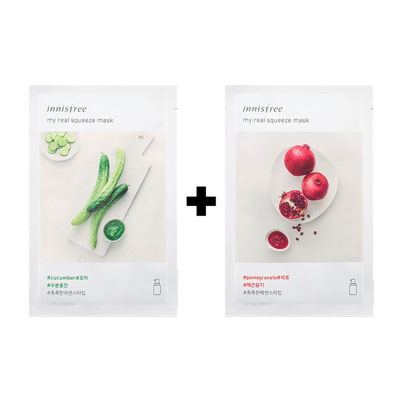 [20ea][Innisfree] My Real Squeeze Mask #Cucumber 10ea+Pomegranate 10ea (Weight : 540g)